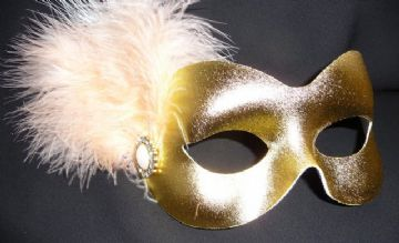 Gold & peach  feather masquerade mask (1)